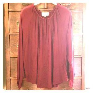 Cleobella garnet red chiffon blouse